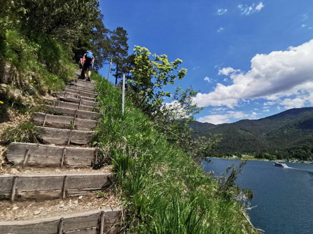 Weiter auf dem Achensee Rundweg in Richtung Achenkirch - viele Stufen bergauf