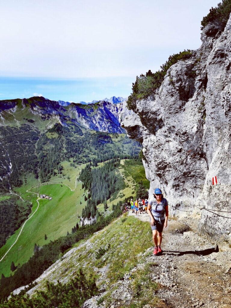 Die Bärenkopf Wanderung oberhalb der Drahtseil-Stelle ist steil, aber machbar