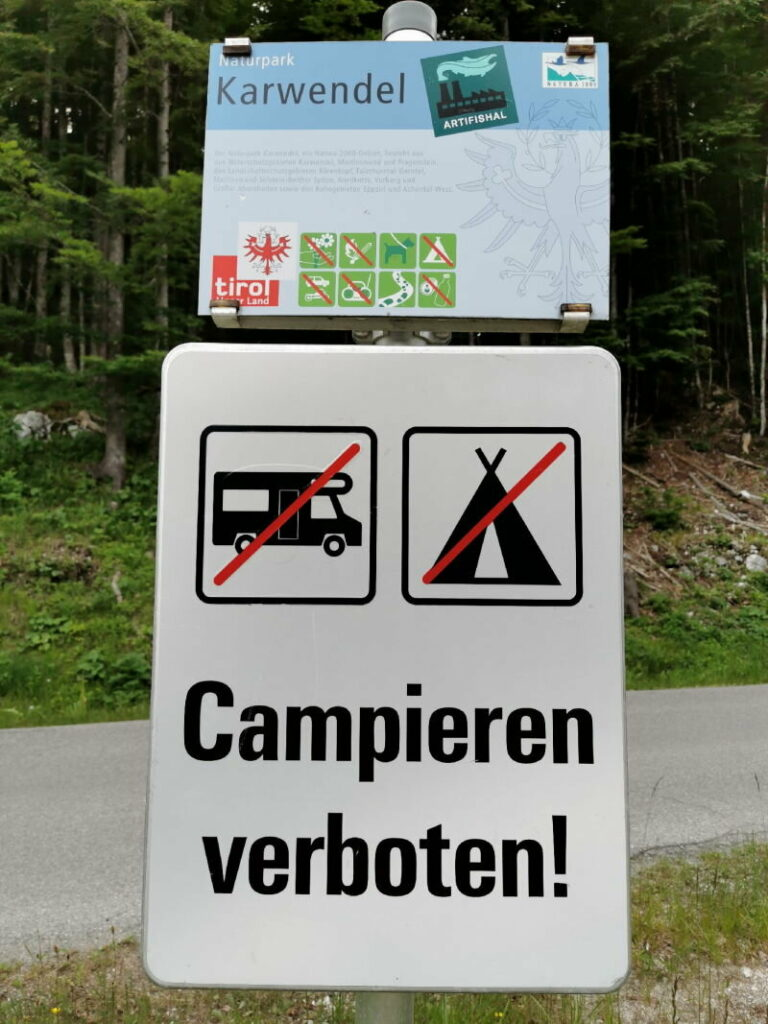 Karwendel Camping - im Naturpark ausnahmslos verboten