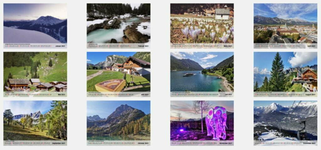 Karwendel Kalender 2021: Das sind die 12 Kalenderblätter - von Januar oben links mit Dezember unten rechts