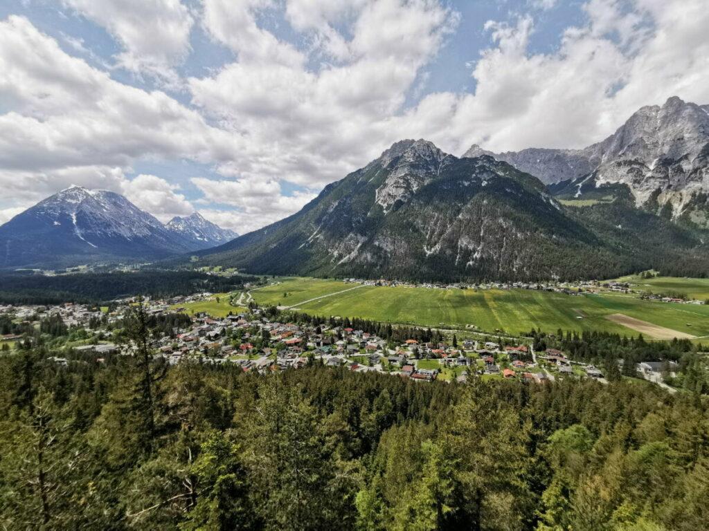 Das ist die Aussicht am Kurblhang auf die Leutasch und das Wettersteingebirge