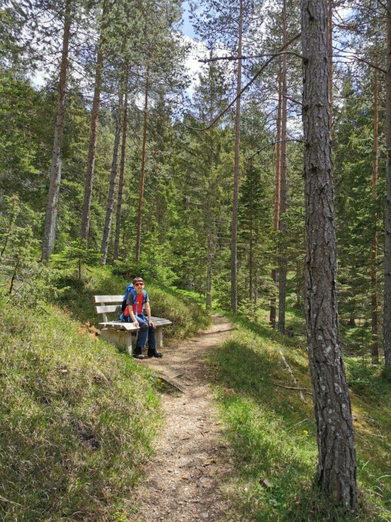 Zwischendurch kannst du auch auf einer Bank mitten im Wald rasten