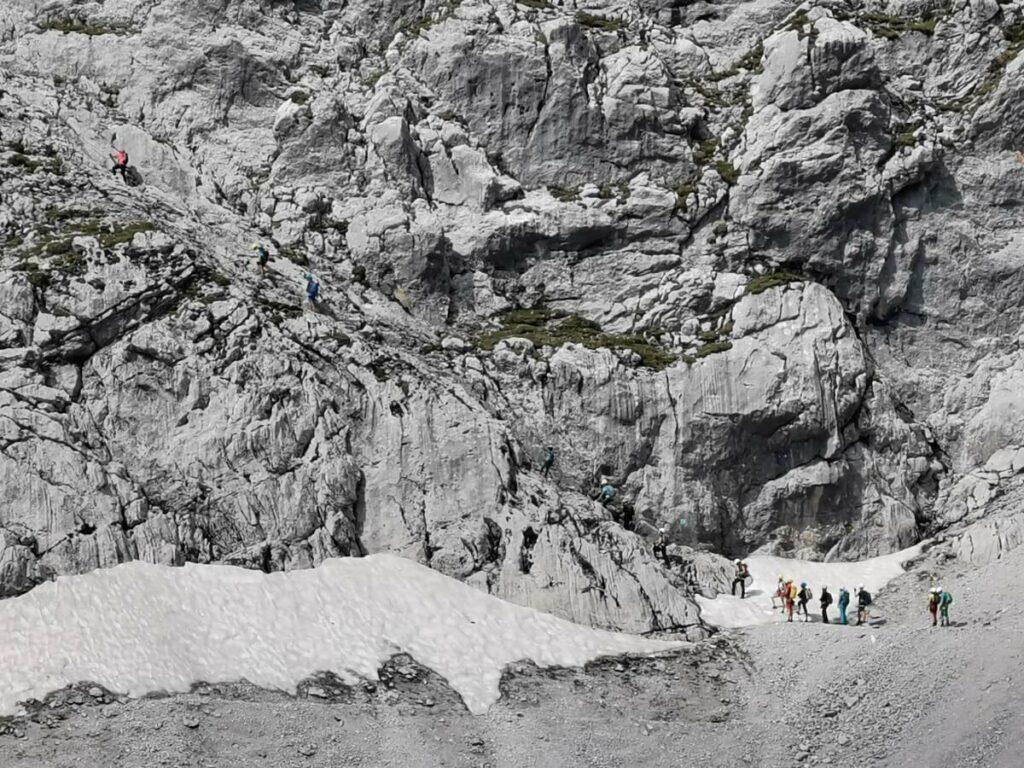 Einstieg in den Lamsenspitze Klettersteig