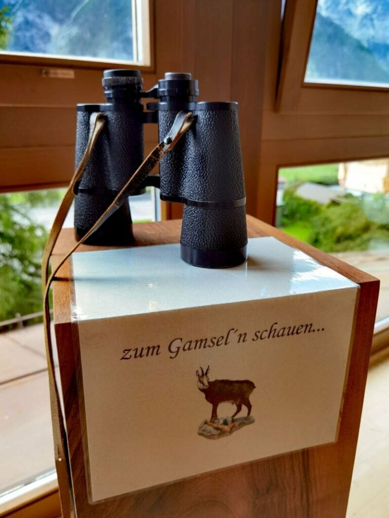 Witziges Detail im Leutascherhof - das Fernglas für die Beobachtng der Gämsen, die du vom Wellnessbereich sehen kannst