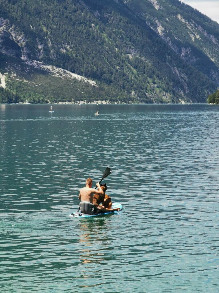 Achensee mit Hund - vom Hundestrand mit dem SUP über den See