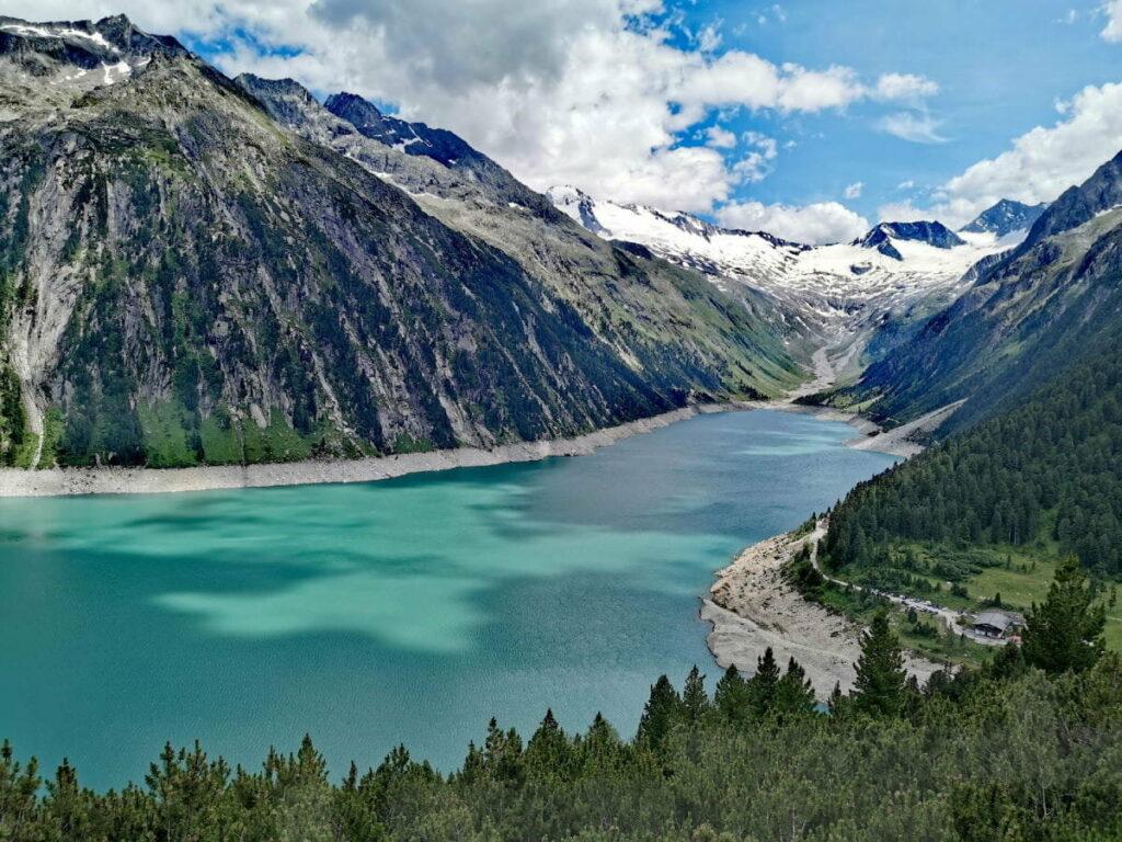 Einer der meistbesuchten Seen in Österreich: Der Schlegeisspeicher in den Zillertaler Alpen