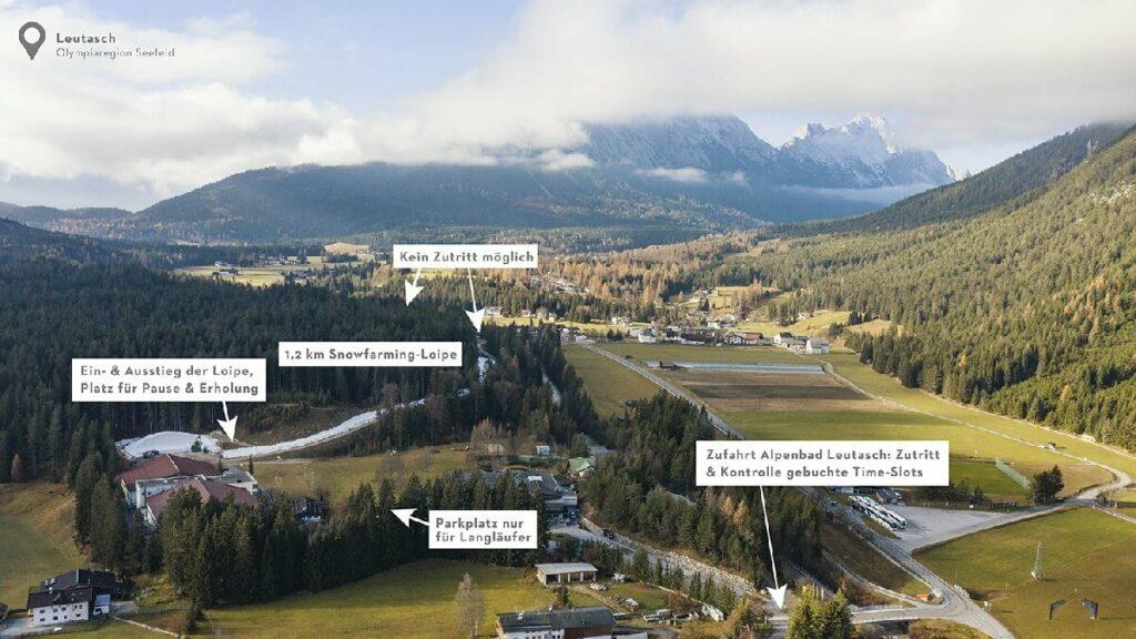 Hier für deine Orientierung die Karte der Snowfarming Loipe Seefeld in der Leutasch