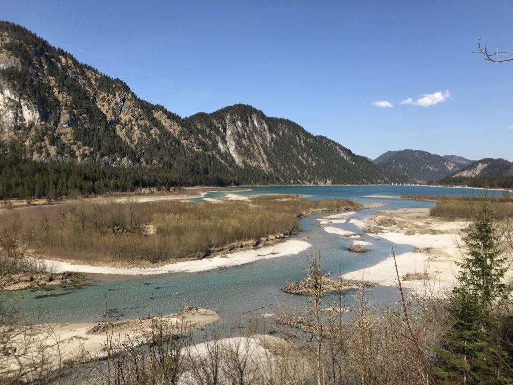 Das ist die Uferlandschaft, wo die Isar in den Sylvensteinsee fließt - das letzte Stück urwüchsiges Isartal