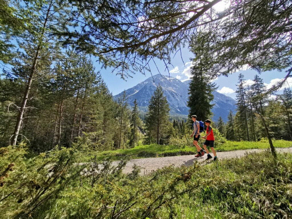 Mit Blick auf die Hohe Mundem in Leutasch zur Wettersteinhütte wandern