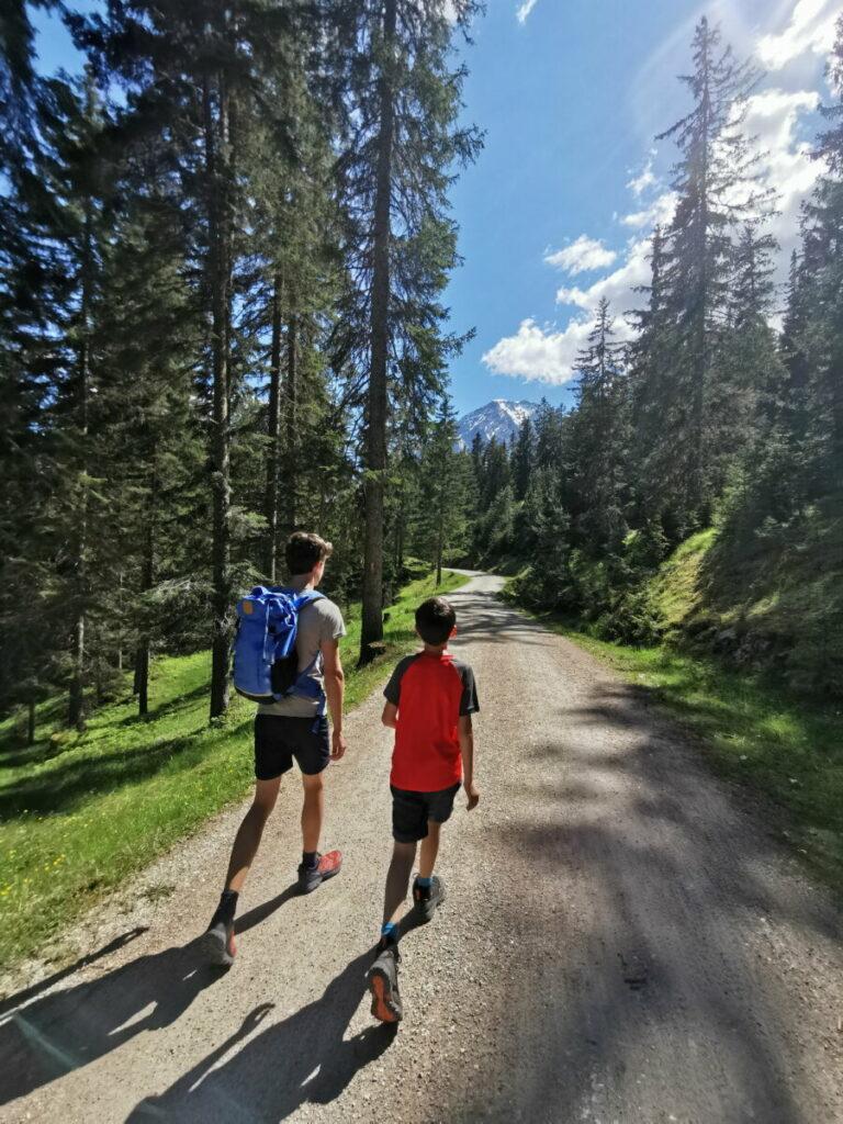 Richtung Wettersteinhütte wandern mit Kindern - kurz folgen wir der Forststraße